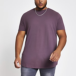 Big and Tall - Paars T-shirt met ronde zoom