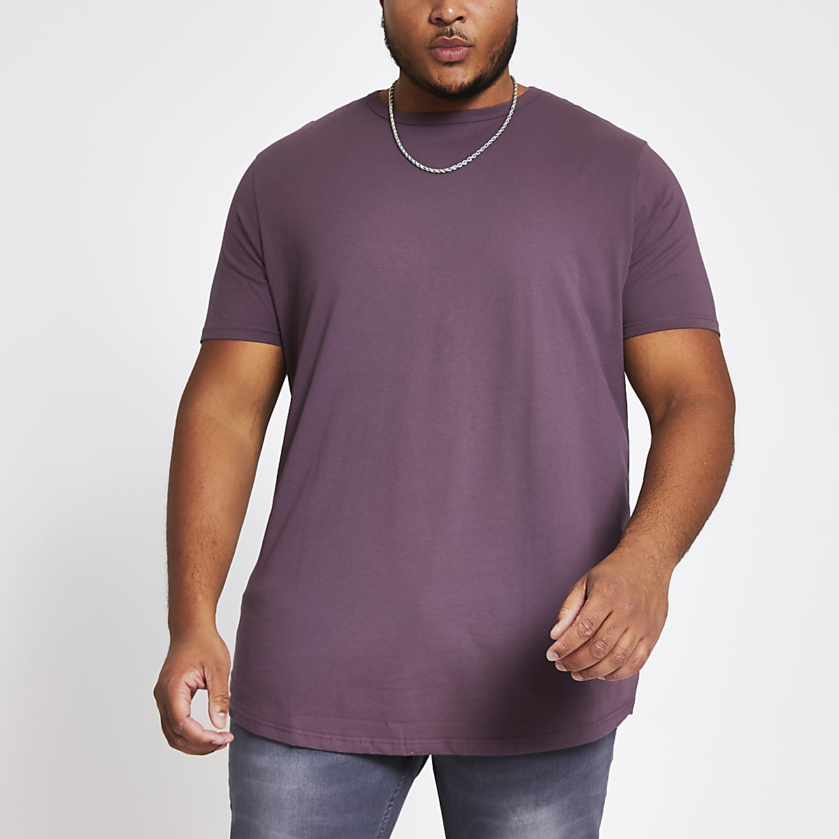 Big and Tall purple curve hem T-shirt