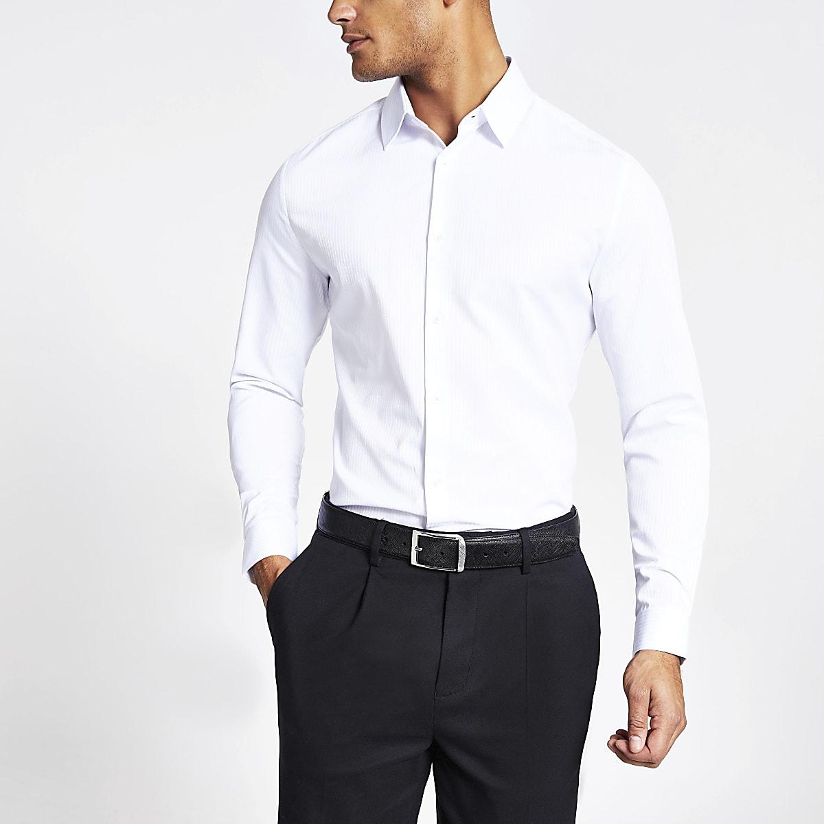 White satin stripe slim fit shirt