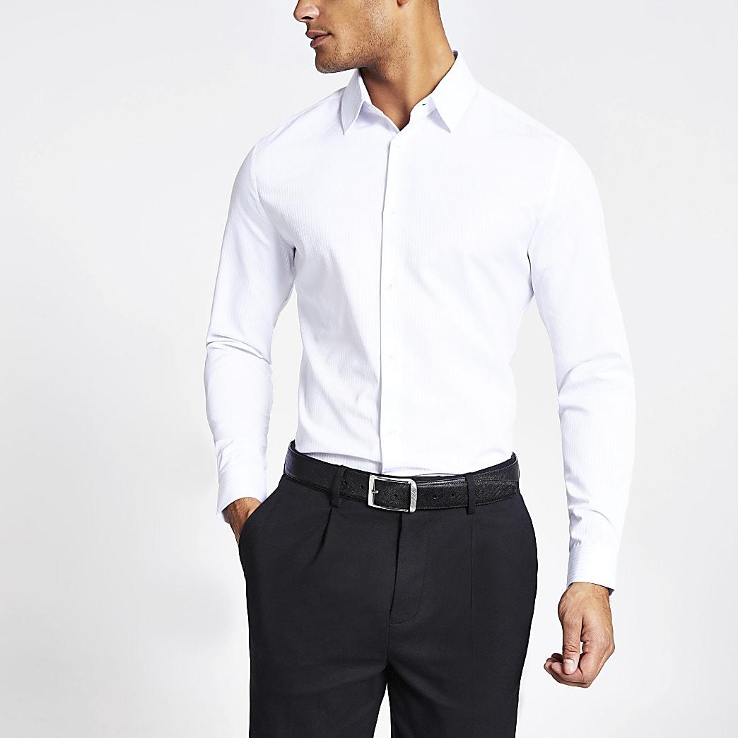 Wit satijnen gestreept slim-fit overhemd