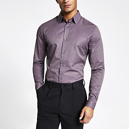 Purple satin stripe slim fit shirt