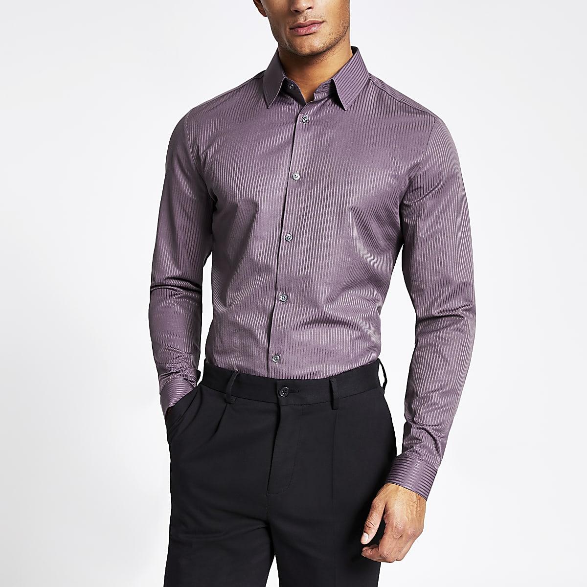 Purple satin stripe slim fit shirt