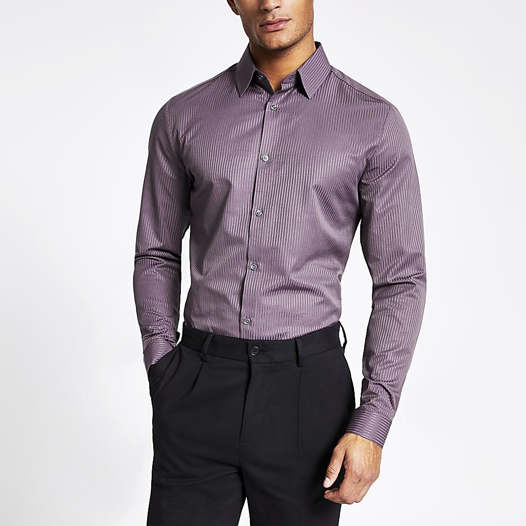 Chemise slim en satin violet à rayures