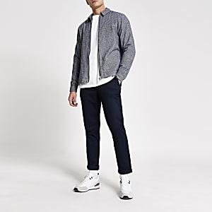 Strukturiertes Regular Fit Überhemd in Grau mit durchgehendem Reißverschluss