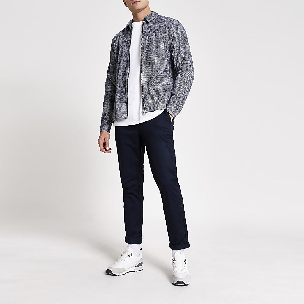 Grey textured zip through regular overshirt