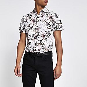 Ecru slim-fit overhemd met bloemenprint en korte mouwen