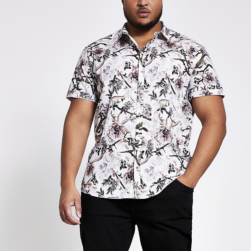 Big and Tall - Ecru overhemd met bloemenprint en korte mouwen