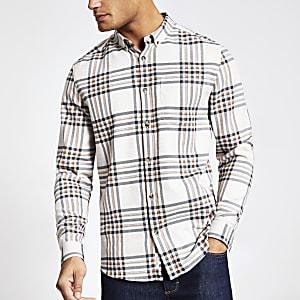 Ecru geruit regular-fit overhemd met lange mouwen