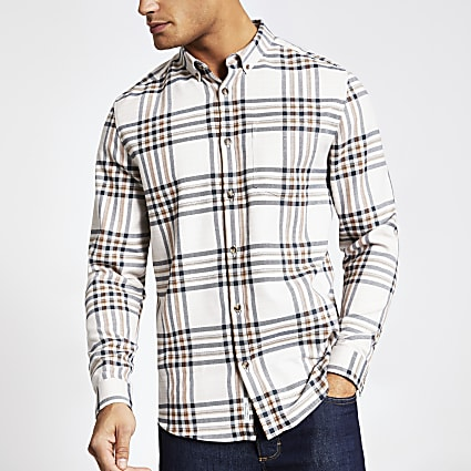 Ecru check regular fit long sleeve shirt