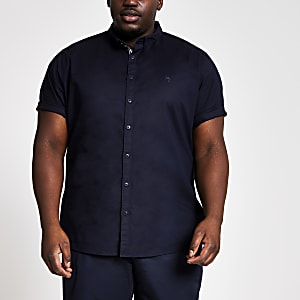 Big and Tall – Chemise slim bleu marine à manches courtes