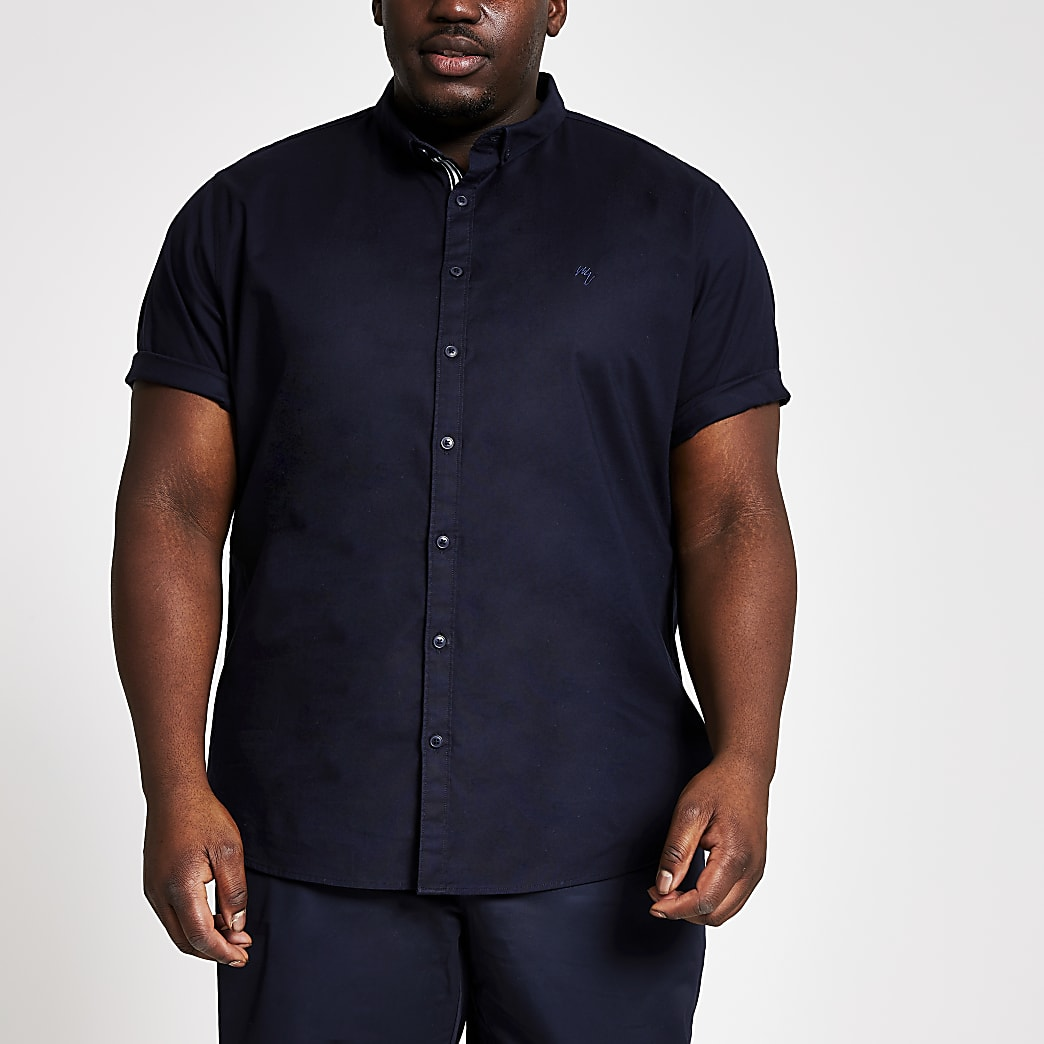 Big and Tall - Marineblauw overhemd met korte mouwen