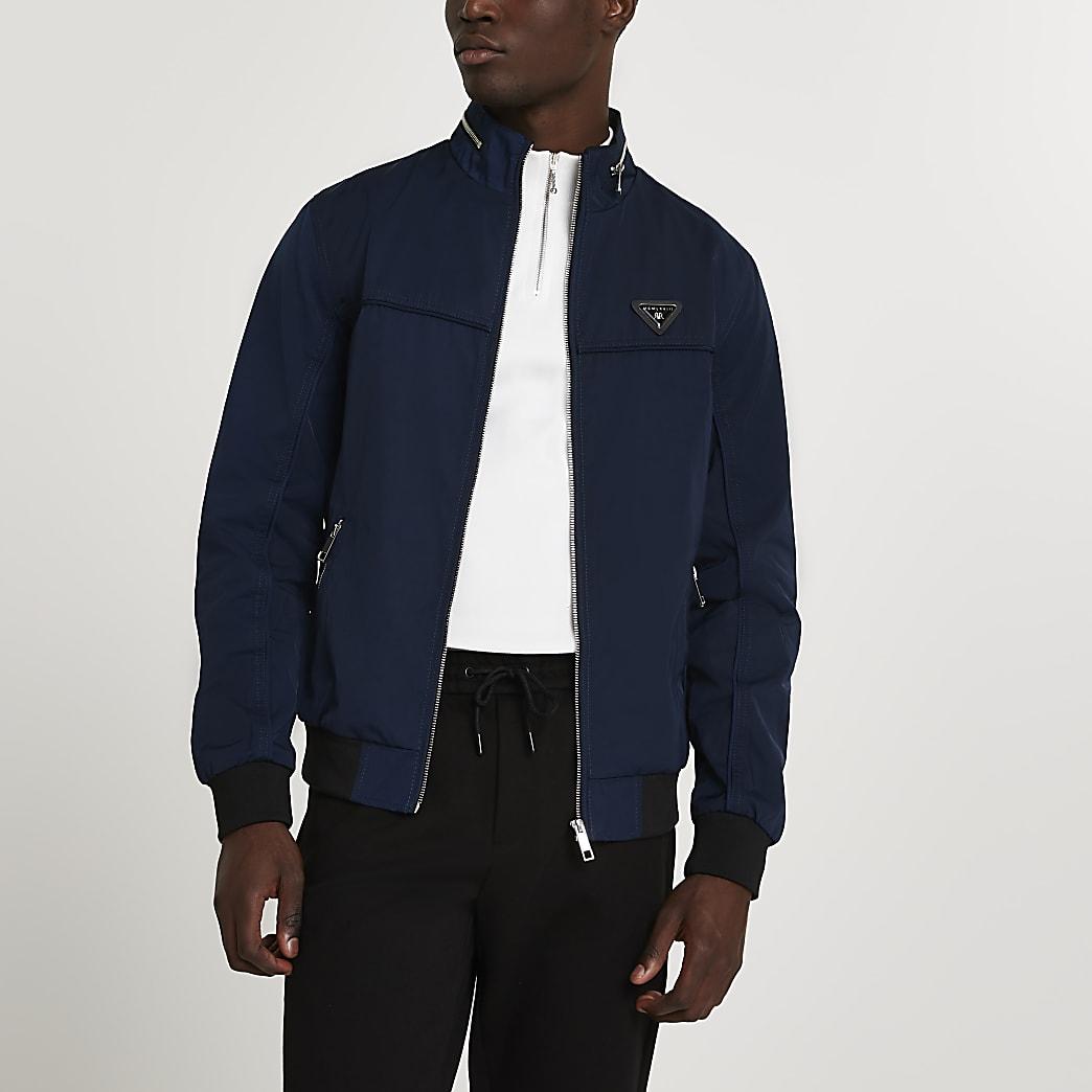 Navy MCMLX zip front racer jacket