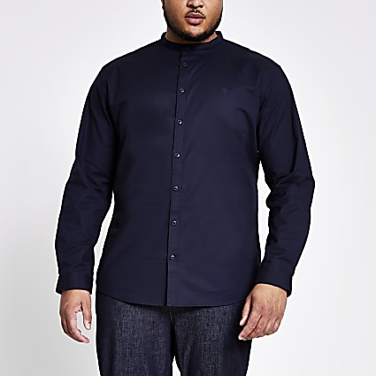 Big and Tall navy grandad collar shirt