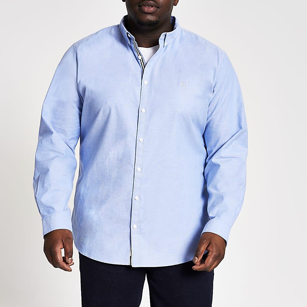 Big and Tall - Blauw slim-fit oxfordoverhemd