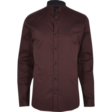 Dark red stand collar slim fit shirt
