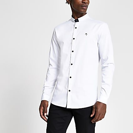 White stand collar slim fit shirt