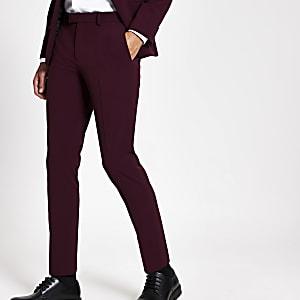 Dunkelrote, elastische Skinny Anzugshose