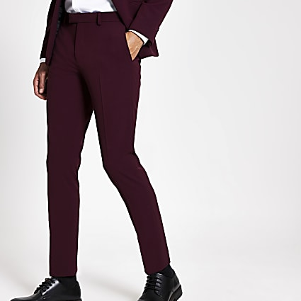 Dark red stretch skinny suit trousers
