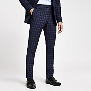 Pantalon de costume slim bleu marine à carreaux