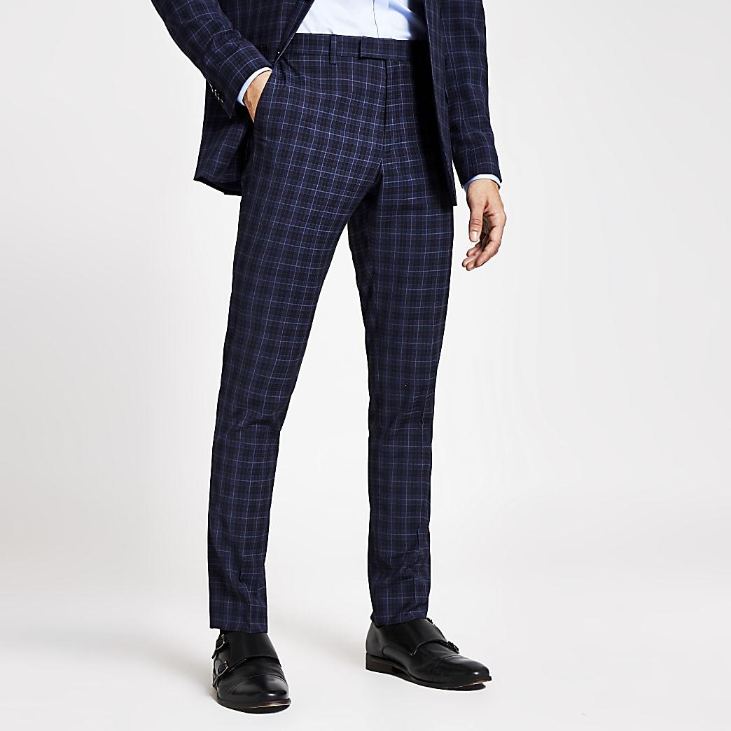 Marineblauwe geruite slim-fit pantalon