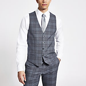 Blue check single breasted suit waistcoat