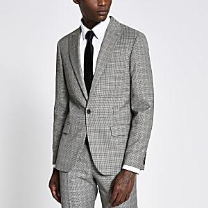 Braune Skinny-Anzugjacke mit Karos