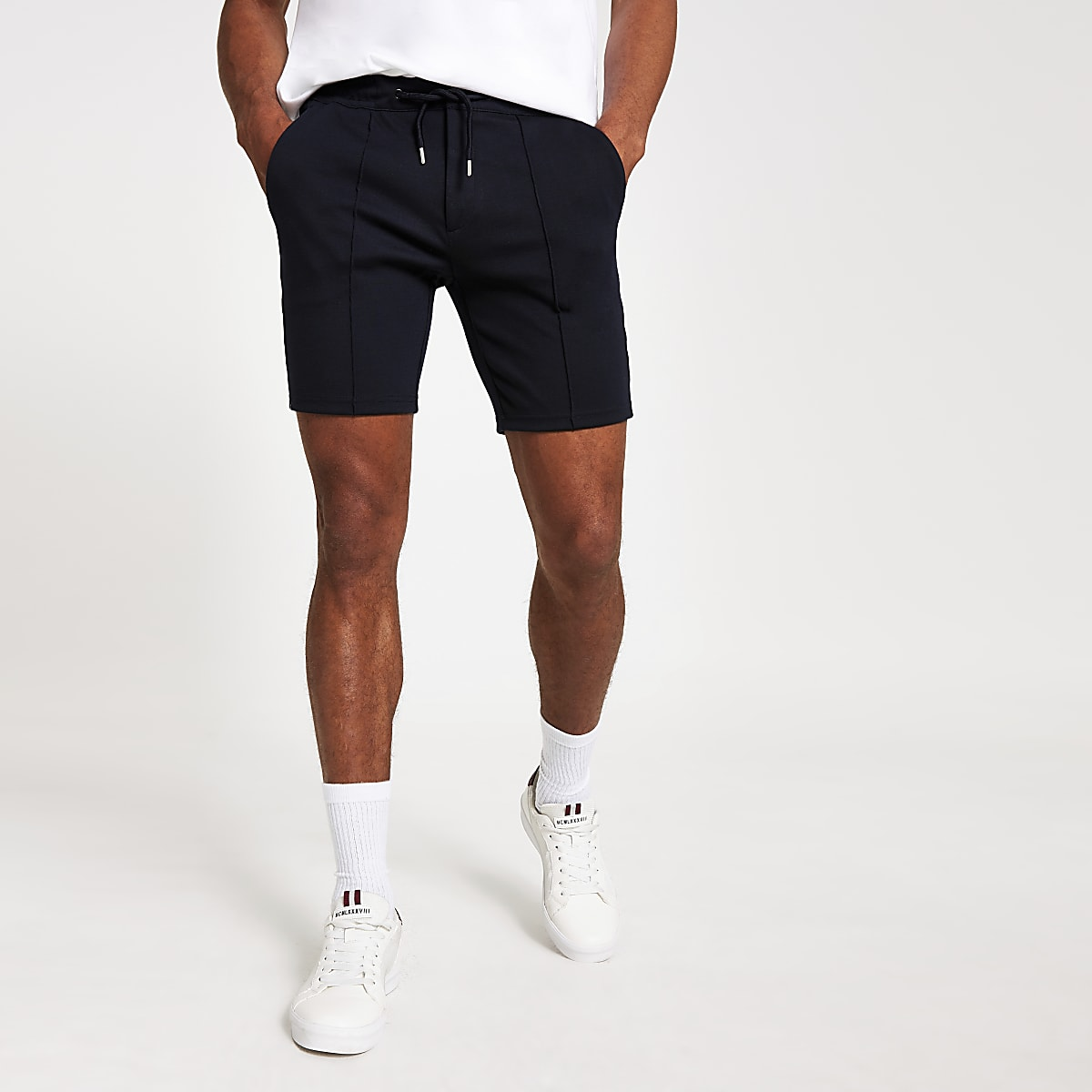 Navy tape ponte shorts