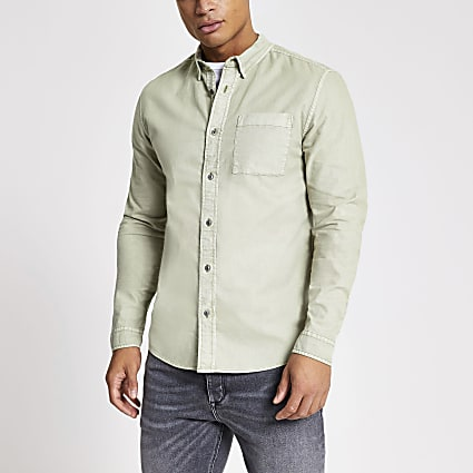 Green garment dyed regular fit shirt