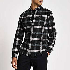 Hemd mit Karomuster im Regular-Fit in Schwarz