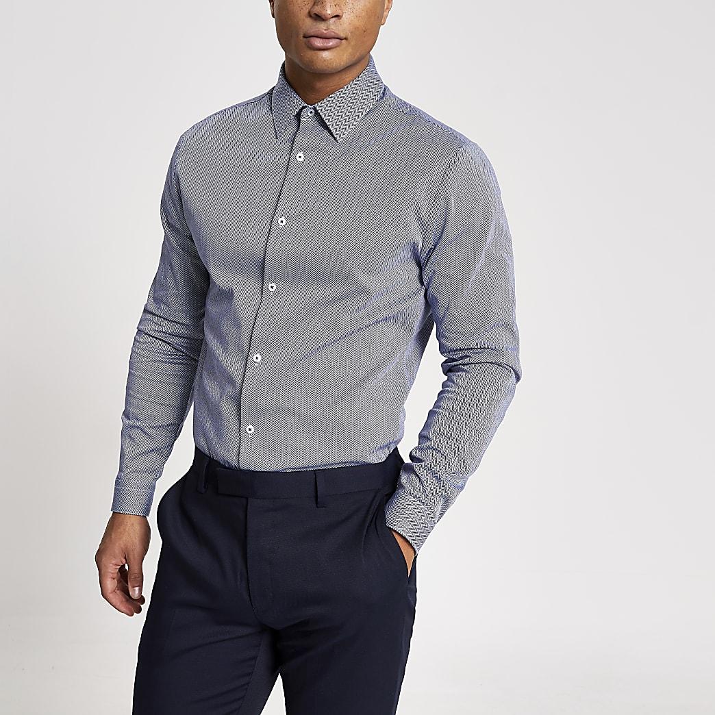 Marineblauw slim-fit overhemd met lange mouwen en visgraatmotief