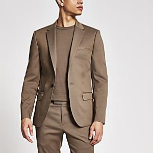 Einreihige Skinny Fit Anzugjacke in Beige