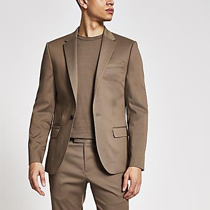 Beige single breasted skinny fit suit jacket