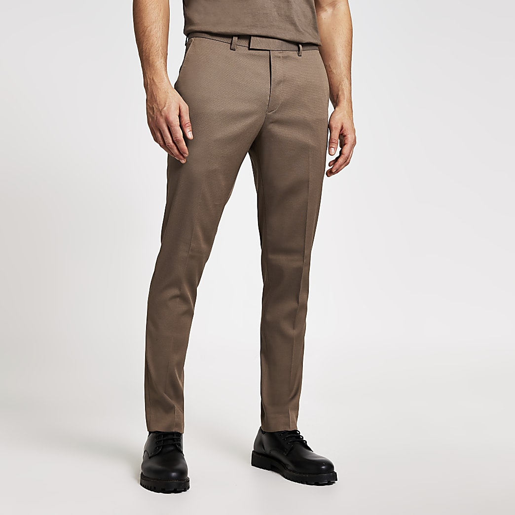 Beige stretch skinny suit trousers