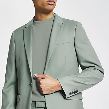 Green skinny suit jacket