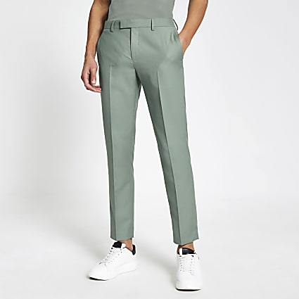 Green skinny suit trousers