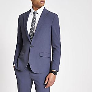 Einreihige Skinny Fit Anzugjacke in Blau