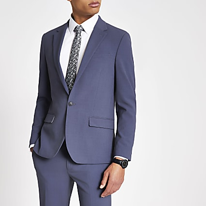 Blue single breasted skinny fit suit jacket