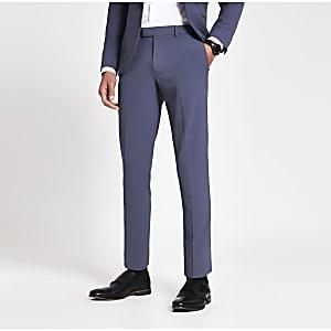 Blaue Skinny Fit Anzughose aus Stretch