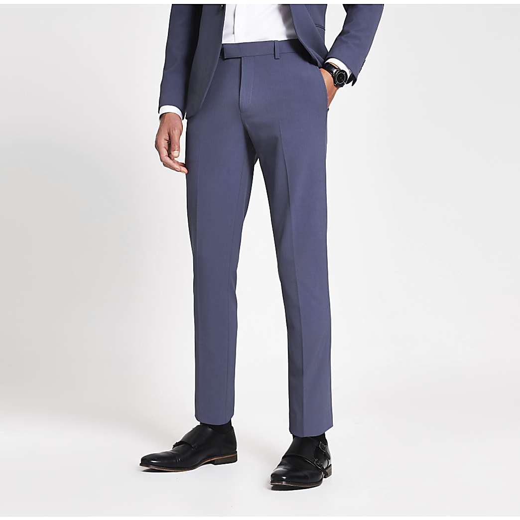 Blue stretch skinny suit trousers