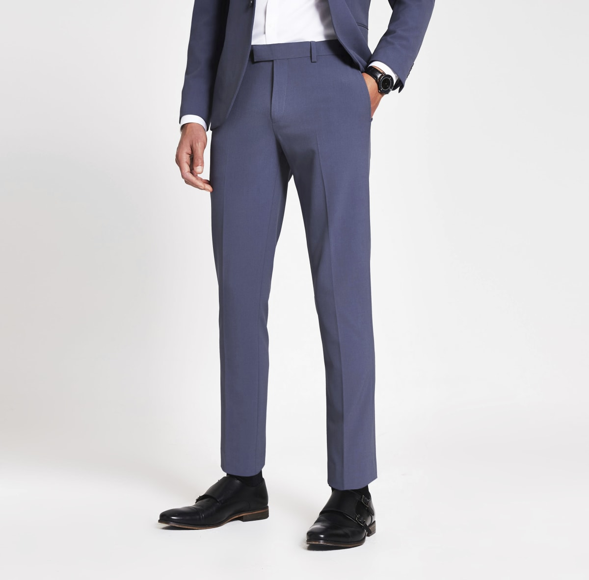 Pantalon de costume skinny stretch bleu