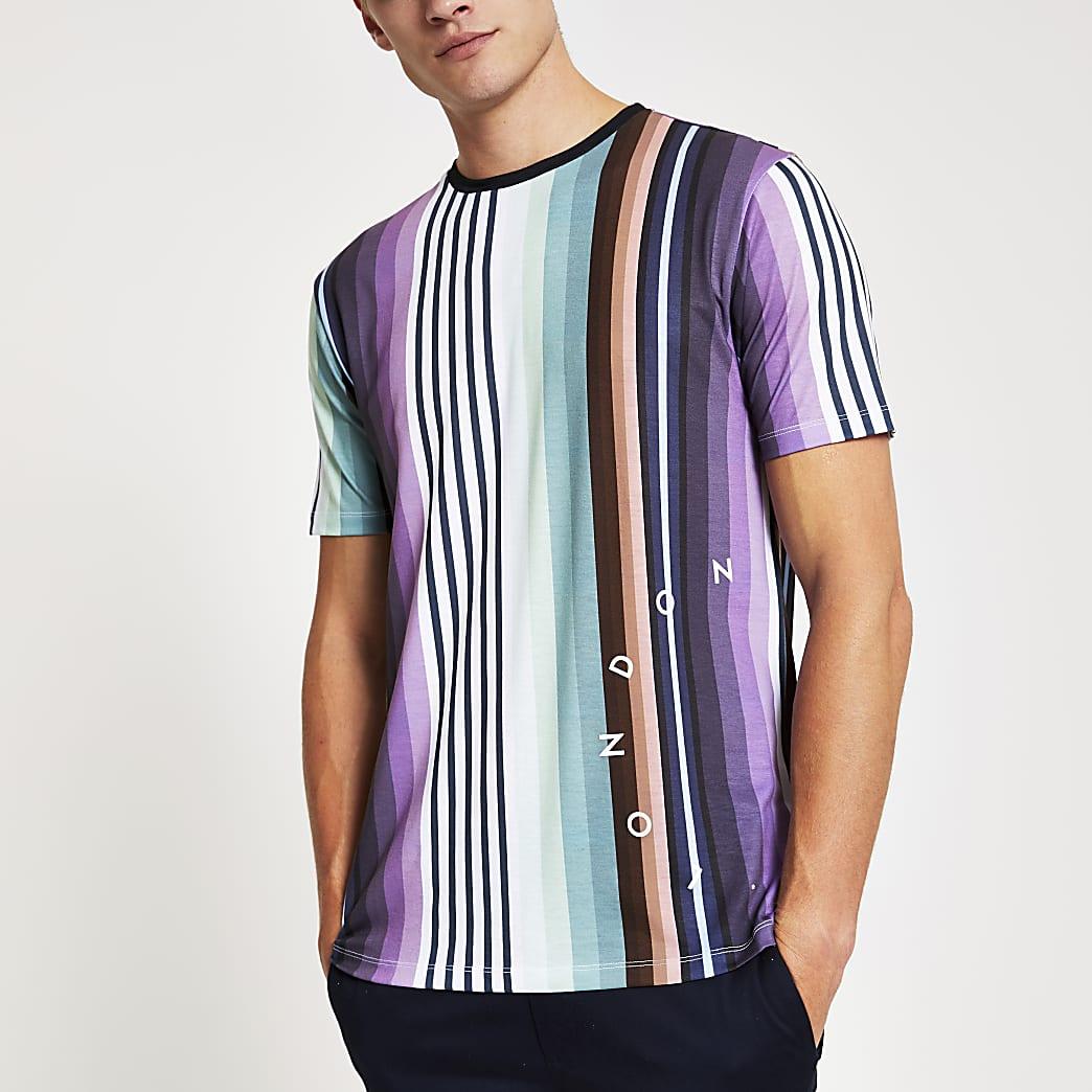 T-shirt slim «London» rayé violet