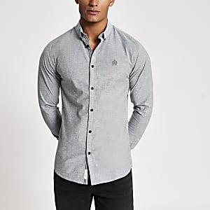 Grijs aansluitend Oxford overhemd met lange mouwen