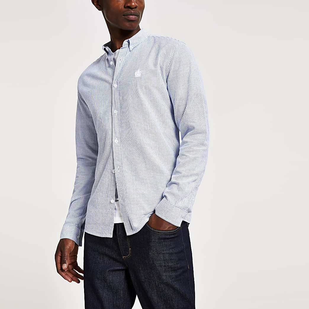 Navy slim fit stripe long sleeve Oxford shirt
