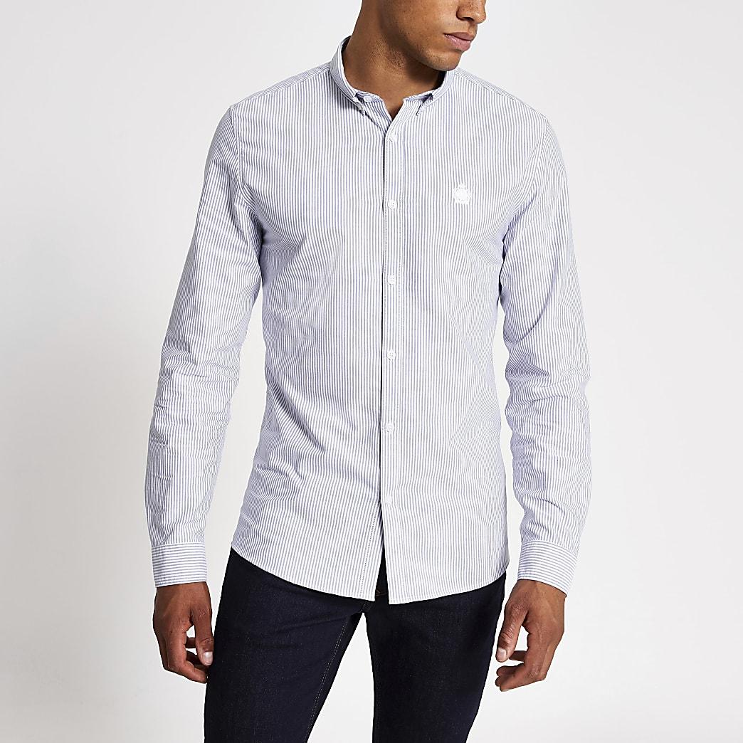 Marineblaues Slim Fit Oxford-Hemd mit Streifen