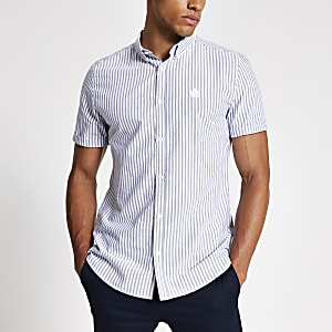 Grey stripe short sleeve slim Oxford shirt