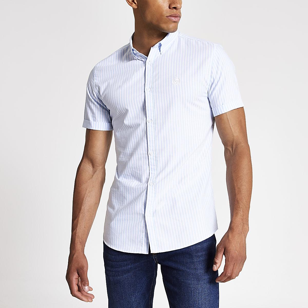 Blauw gestreept slim-fit Oxford overhemd met korte mouwen