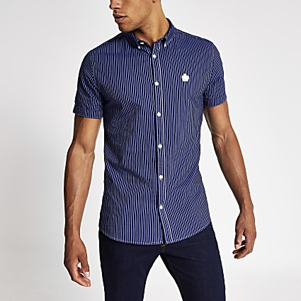 Navy stripe short sleeve slim Oxford shirt