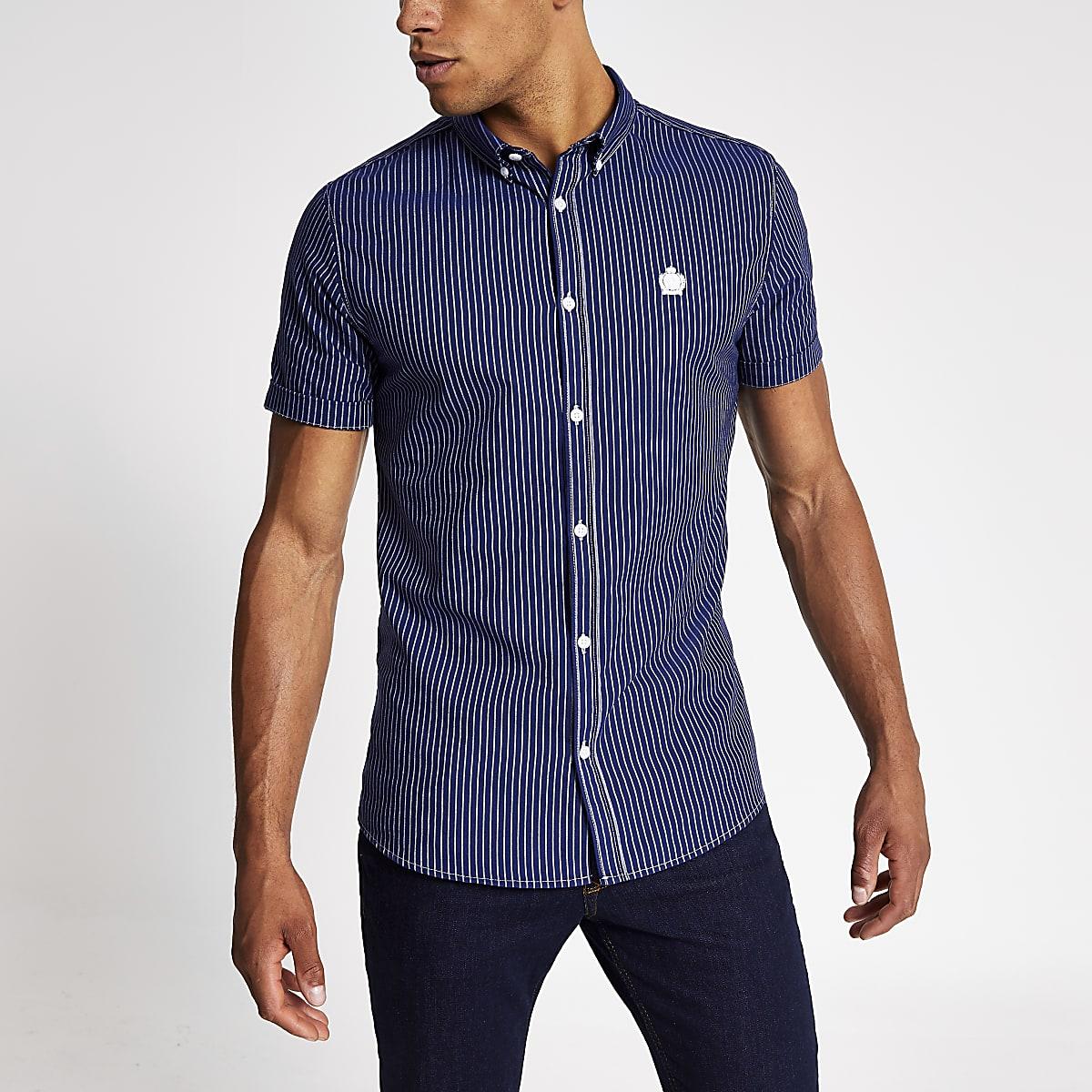Marineblauw gestreept smal Oxfordoverhemd met korte mouwen