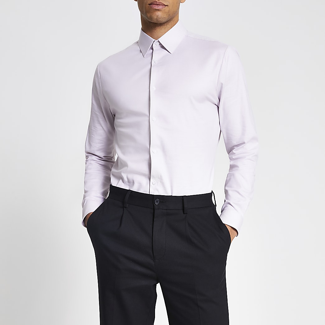 Pink textured long sleeve slim fit shirt