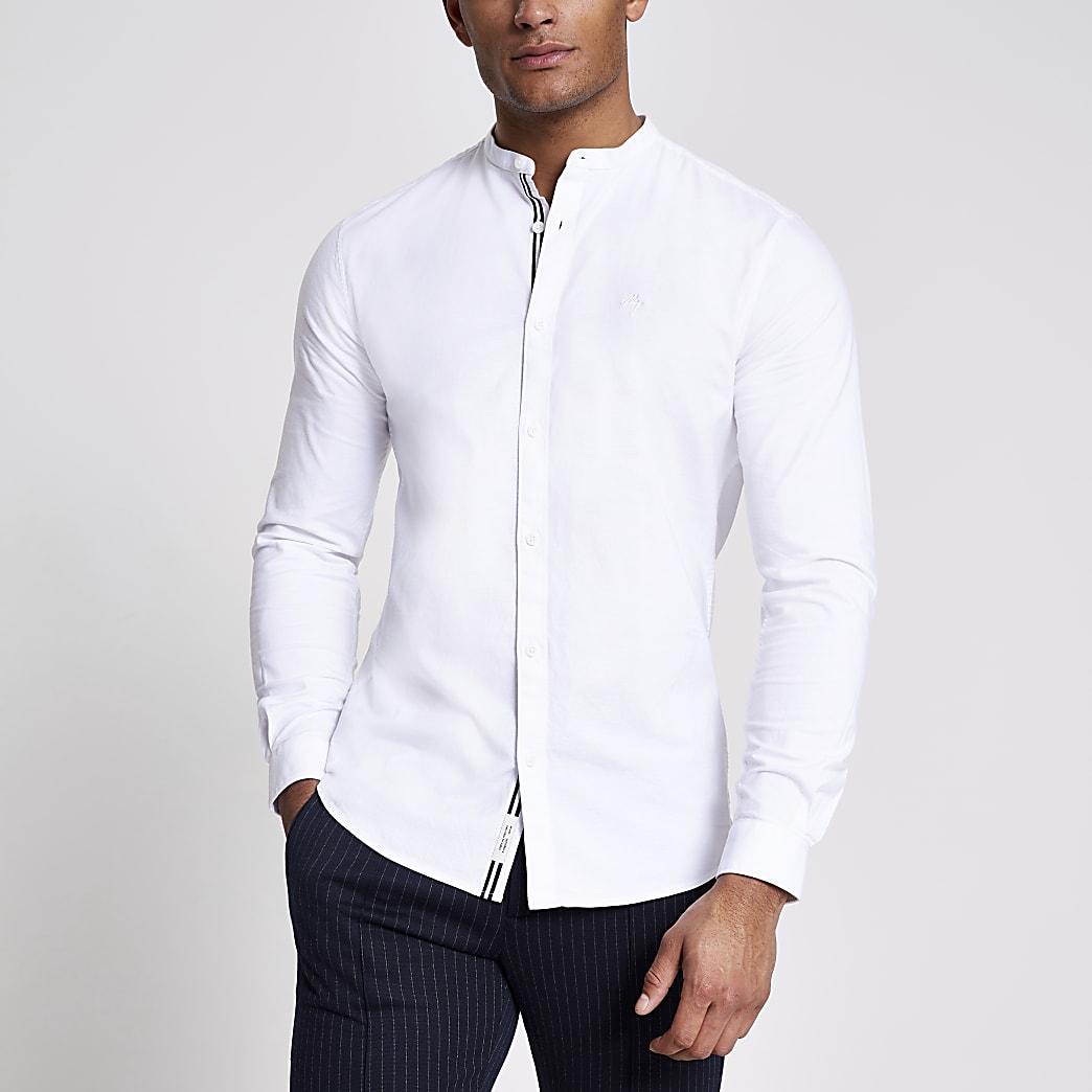 Maison Riviera - Wit slim-fit overhemd zonder kraag